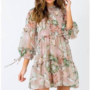 Princess Polly Eden Bloom Mini Dress Blush